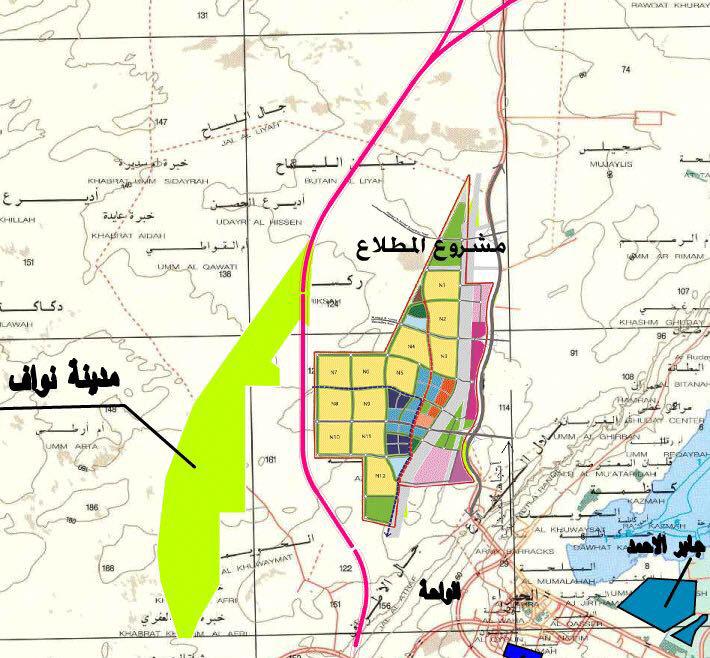 مدينة المطلاع موضح المواقع الجغرافيه القريبه