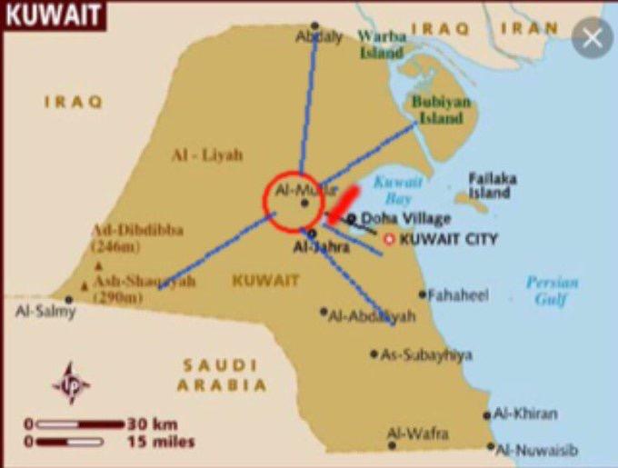 موقع مدينة المطلاع في وسط دولة الكويت